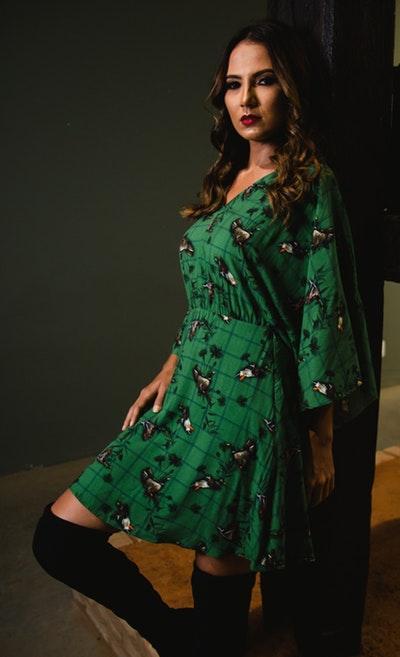 Flare Sleeves Mini Dress